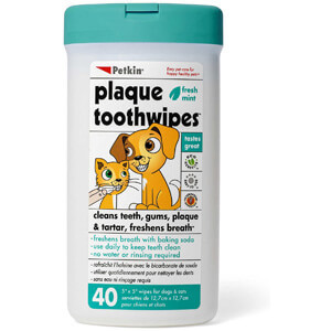 Petkin 40-Count Plaque Toothwipes (1 Pack)