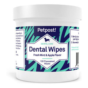 Petpost Dental Wipes for Dogs – Bad Breath, Plaque and Tooth Decay Gone – 100 Presoaked Pads in Natural Tooth Cleaning Solution