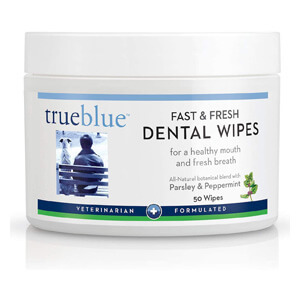 TrueBlue Parsley & Peppermint Fast and Fresh Dog Dental Swipes – Pre-Moistened Teeth Cleaning Pads - Non-Toxic, All-Natural Tooth Cleansing– 50 Count